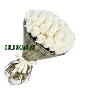 51 White Roses Bouguet